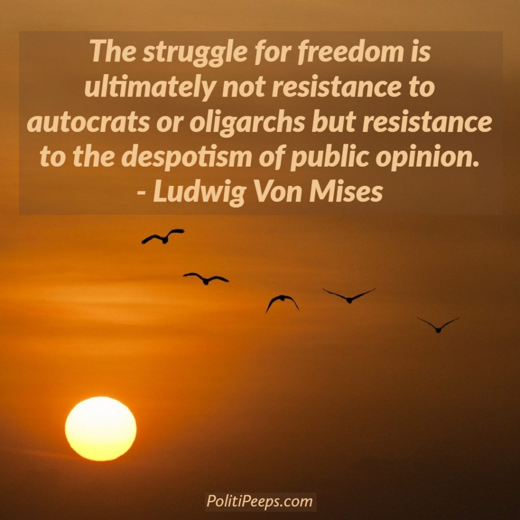 The struggle for freedom is ultimately not resistance to autocrats or oligarchs but resistance to the despotism of public opinion. - Ludwig von Mises